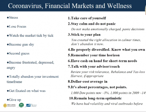 A Corona Virus Response and your financial wellness by Jim Hiles, GoPlan 101 and First Capital